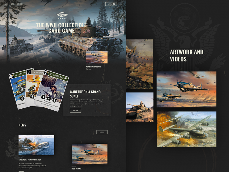 Kards homepage website typography design
