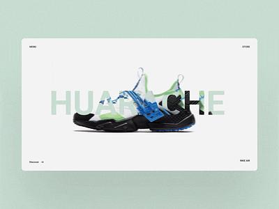 Huarache Website Design shoes fullscreen web inspiration motion design ix ux
