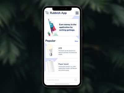 Waste App design ui app eco recycle figma