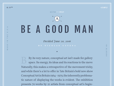 Good Man editorial presentation design new magazine article typography