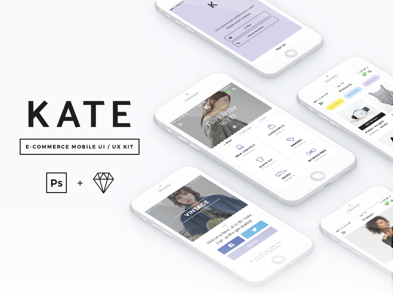 KATE product sketch free sale appdesign ios shop ecommerce app mobile ux ui