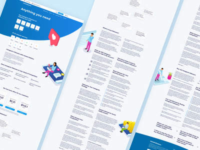 Main Page Website typography mainpage design web design website minimalistic minimal flat blue isometric isometry illustrations figma main main page ux ui landing page