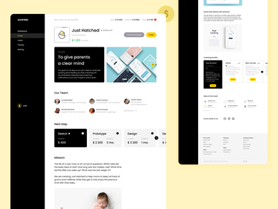 Founder investment project page flat minimal black  white slider webdesign desktop sidemenu startup yellow investment invest figma ux ui design
