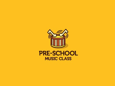 Pre-School Music Class logo music class school drum musical noted bang kids child play logomark marque typography serifs