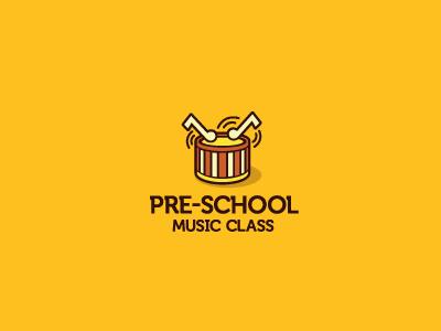 Pre-School Music Class logo music class school drum musical noted bang kids child play logomark marque typography serifs