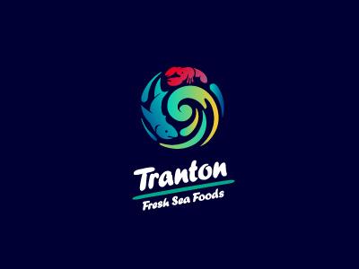 Tranton logo fish wave lobster fish mongers supplier circular sea food frozen fresh circle roundel shark wholesaler distributor typography logotype