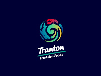 Tranton logo fish wave lobster fish mongers supplier circular sea food frozen fresh circle roundel shark wholesaler distributor typography logotype