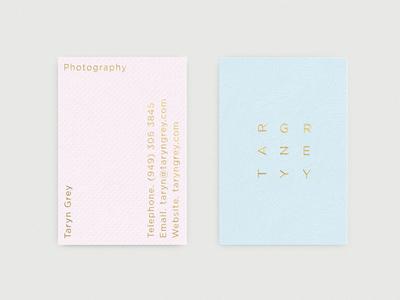 Taryn Grey Business Card Portrait logos business cards logo branding typography logotype