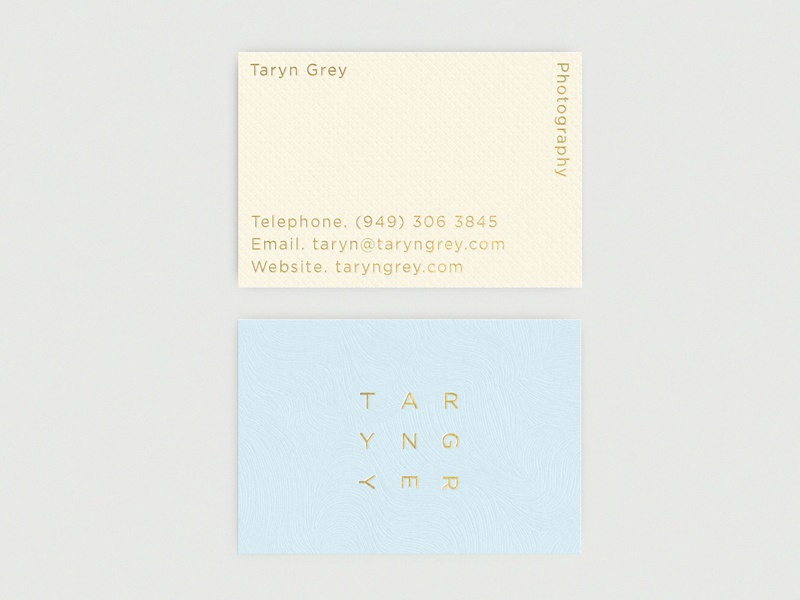 Taryn Grey Business Cards Landscape logos photography business cards logo branding typography logotype