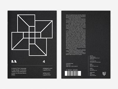 LogoArchive Issue 4 logoarchive black paper architecture white ink gfsmith colorplan booklet zine print mid-century branding design logo