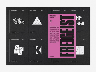 LogoArchive Issue 4 & Freigeist Issue 1 logoarchive mid century logos pink logo design colorplan white ink booklet print graphic design symbol zine branding logo