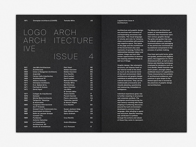 LogoArchive Issue 4 design mid-century colorplan graphic design magazine logoarchive white ink architecture editorial spread zine symbol logo