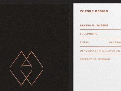 Wieske Design Stationary business cards monograms logos identity interior design fashion stationary copper foil texture duplex foil sans-serif logotype foil blocking