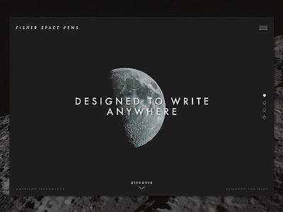 Daily UI - #003 Landing Page Design bullet pen fisher space pen unsplash moon nasa pen space landing page daily ui 003