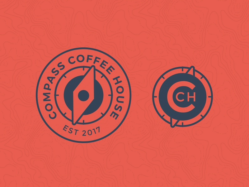 Compass Coffee House Logo travel coffee travel logo map compass coffee compass coffee branding coffee logo coffee house