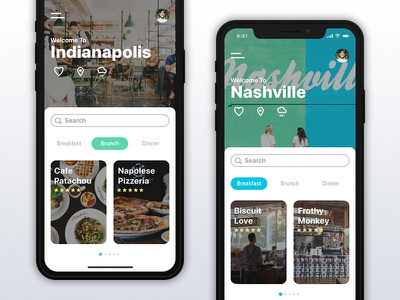 Food App For iPhone X indianapolis food app iphone x breakfast brunch lunch dinner city nashville travel app adobe xd daily ui