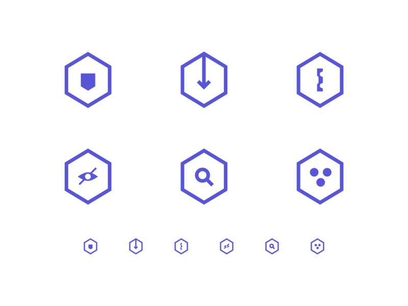 Simple Hex Icons clean simple icons tech icons hexagon icons hex icons hexagonal hexagon icon icons