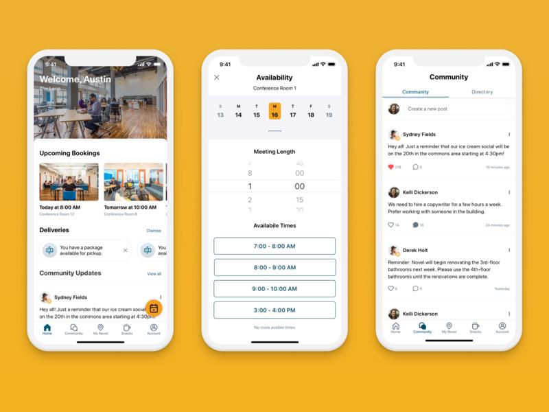 Novel Coworking App product design community calendar meetings schedule meeting room mobile design app ux booking app design react android ios coworking app