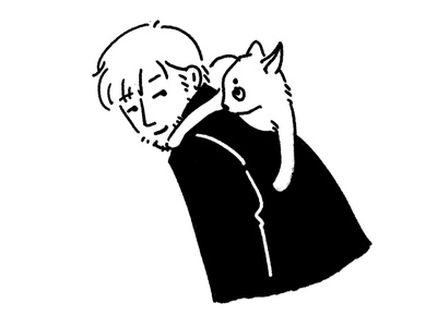 Man and cat sketch illustration illustrator man cat boy