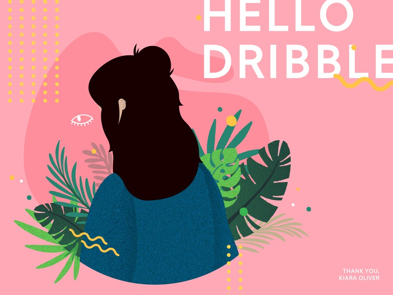 / Hello Dribble colourful digital hello memphis plants firstshot hello dribble flat design vector illustration
