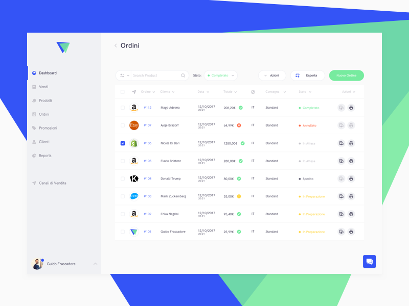Orders List marketplace ecommerce orders dashboard