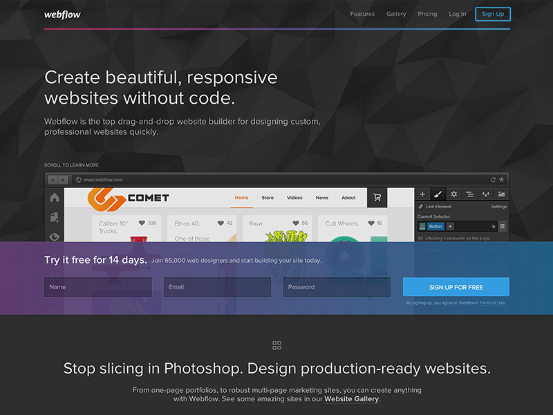 Webflow Redesign gradient dark pink purple blue violet