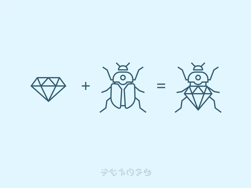Bugs + Stones diamond ux ui nature stone bug icons icon