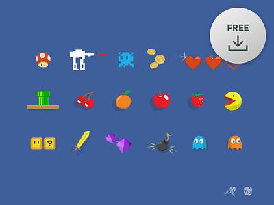 [Free] Vector Gaming Icons nintendo retro zelda pacman mario games game icons vector download