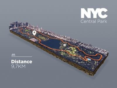 NYC - Central Park Map zwift photoshop park new york city map icon map infographic sport illustration bike 3d-map 3d