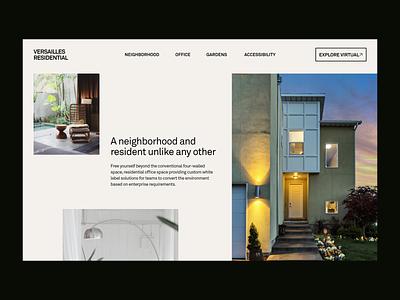 Versailles Residential - Homepage photography website ux ui interface branding typography minimal landing page