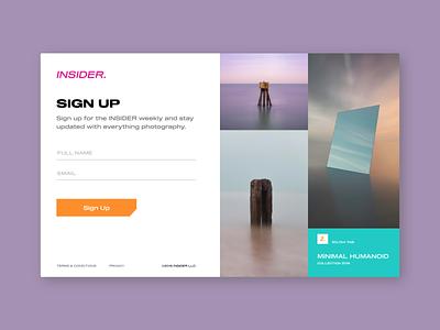 Sign Up   INSIDER. flat minimal websites photography dailyui sign up website typography design branding ui ux