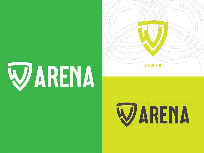 Jw arena golden ration logogrid monogram logo brand and identity logodesigner fitness branding logo