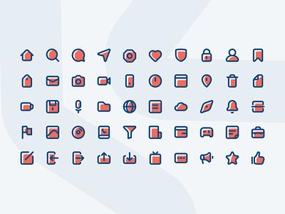 50 Essential Icon classic blue essential icon design color ui icon set