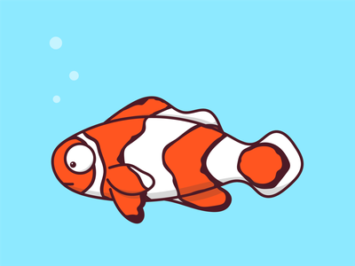 Omen the Clownfish color animals logo animals water ocean fish clownfish vector illustration design