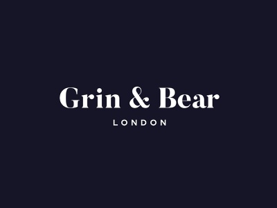 Grin & Bear London: Logo luxury font luxury logo identity flat brand design silk studio logotype logo design logo branding brand identity