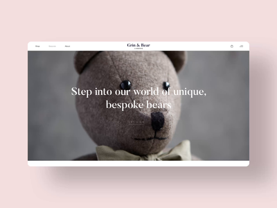 Grin & Bear London: Bespoke Page silk studio webflow luxury website luxury design luxury brand microinteraction interaction design ui design uiux web design brand identity animation