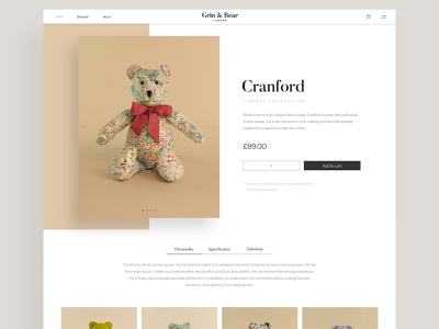 Grin & Bear London: Product Page flat ui identity silk studio webshop luxury website luxury brand webdevelopment ecommerce design ecommerce product page desktop ui uidesign webdesign brand identity