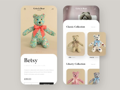 Grin & Bear London: Mobile UI ui webflow webshop web development luxury brand mobile ui design mobile ui e-commerce design e-commerce website design web design silk studio logo design branding brand identity