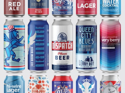 Red, White & Blue Cans grid label patriotic festive united states america usa packaging can beer