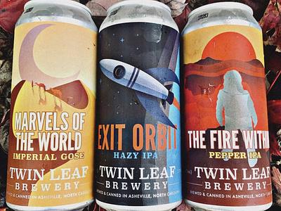 Twin Leaf Explorer Series asheville gose ipa beer can beer label illustrated illustration camal galaxy sky stars sun moon desert rocket volcano fire explore beer