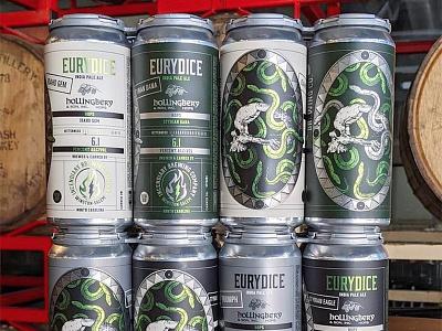 Incendiary Eurydice illustration lightning flame fire skull snakes label beer can beer