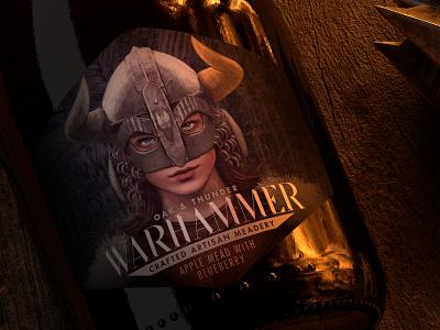 Warhammer Mead Label custom die horns helmet warhammer label viking mead