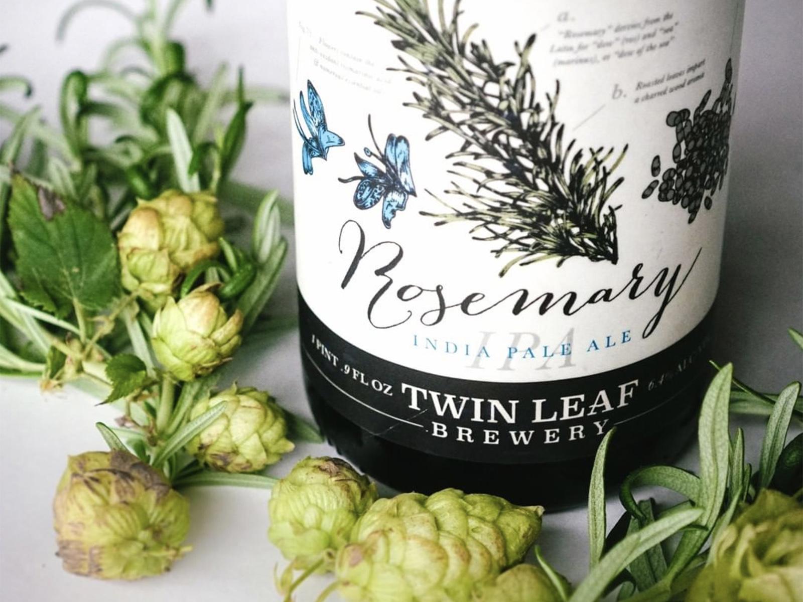 Twin leaf rosemary ipa label design copy