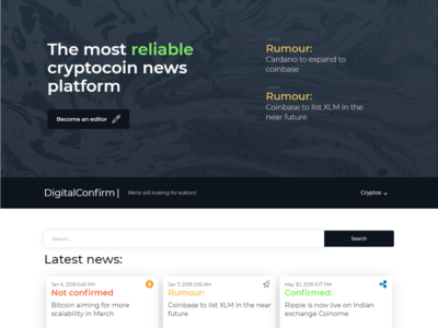 Digitalconfirm Cryptocurrency news site concept