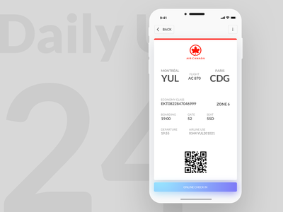 Daily UI #024 - Boarding Pass check online checkin boardingpass ux ux design apple iphone xs user interface sketch ui ui design design dribbble daily 100 daily ui daily ui 24