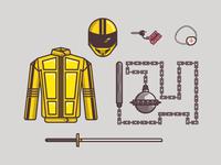 Kill Bill Items keys katana nunchaku helmet uniform bike pattern icons texture illustration vector kill bill