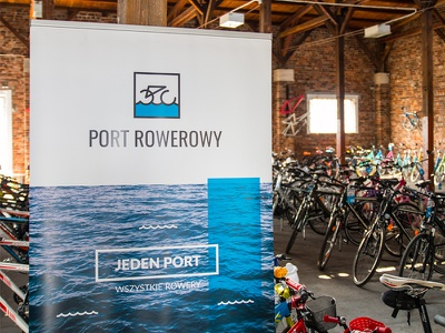 Port Rowerowy Shop water sign logo harbor design bike bicycle shop rollup