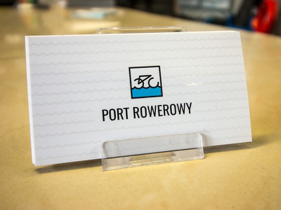 Port Rowerowy Business Card water sign logo harbor design bike bicycle uv varnish card business