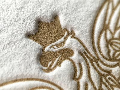 Eagle print pantone871 cotton letterpress crown eagle gold