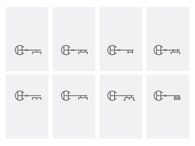 CH + key lines design character letters combine keys logo symbol key letter monogram ch